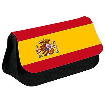 Spain Flag Printed Design Pencil Case for Stationary/Cosmetic - 0165 (Black) by i-Tronixs
