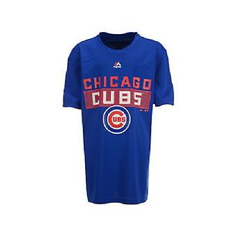 Chicago Cubs MLB Majestic Youth Block Athletic Tee