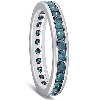 1 1 / 2ct blauer Diamant Kanal Set Eternity Ring 14K Weissgold