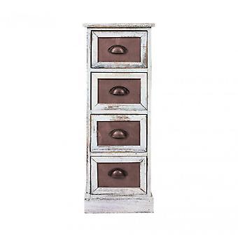 Möbel Rebecca Cassetti Comodino 4 weiße Holz Boxen Vintage 80x29x25