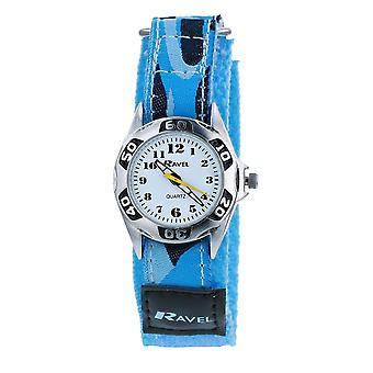 Ravel Boys Blue Army Camouflage Fabric Easy Fasten Strap Watch R1507.06A
