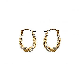 Eternity 9ct 2 Colour Gold Small Oval Creole Hoop Earrings