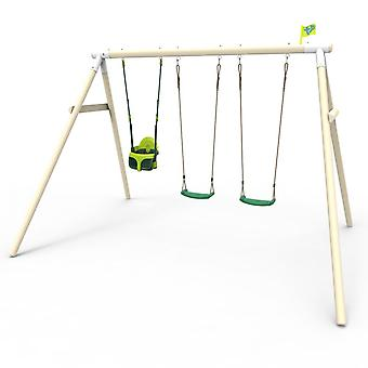 TP Toys Knightswood Syme Wooden Swing Set With TP Quadpod and Two Deluxe Swing