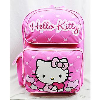Backpack - Hello Kitty - Glitter Heart Pink School Bag 16