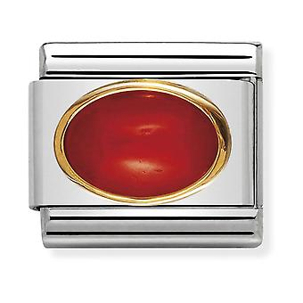 Nomination Classic Oval Stone Steel, Red Coral and 18k Gold Link Charm 030502/11