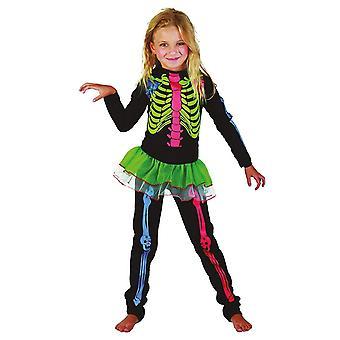 Bristol Novelty Childrens/Girls Multicoloured Skeleton Costume