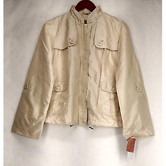 Judy Crowell Zip Front w / Button Detail Sand Beige Jacke Damen A18695