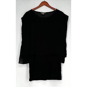 Kate & Mallory Top Lace Sleeveless Layered Detail Black Womens A408261