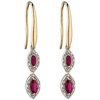 Elements Gold Ruby and Diamond Marquise Earrings - Red/Gold/Silver