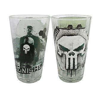 Punisher hodeskaller 2-Piece pint glass sett