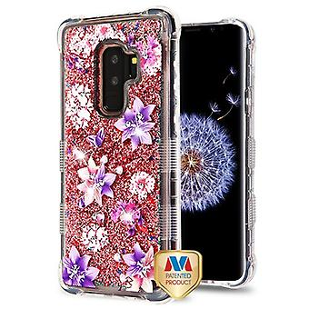 MYBAT Purple Stargazers/Rose Gold Flowing Sparkles TUFF Quicksand Glitter Lite Hybrid Case for Galaxy S9 Plus