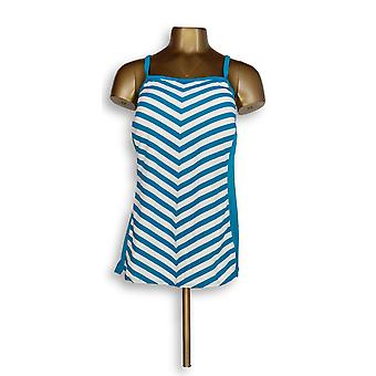 Denim & Co. Plus Strand Streifen Tankini Top mit blau A304228