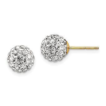 14k Gul Guld 8mm Klar Crystal Post Øreringe smykker gaver til kvinder