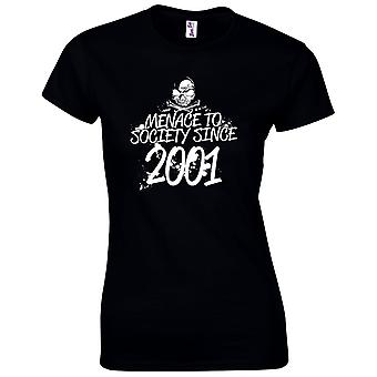 18th Birthday Gifts for Women Her Menace To Society 2001 T-Shirt