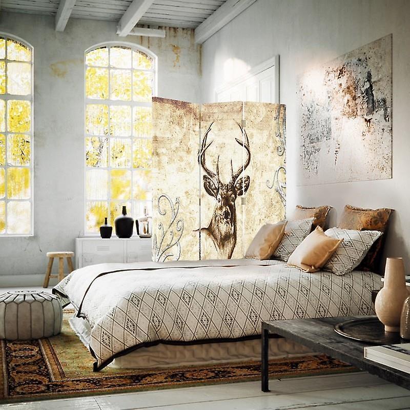 Diviseur de chambre, 3 panneaux, à un seul côté, toile, tête de cerf 1