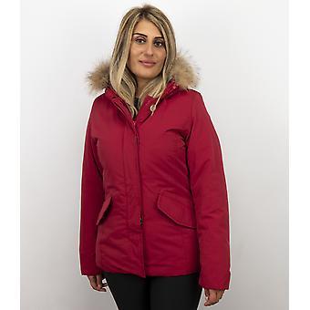 Fur coats - Wintercoat Wooly Short - Fur Collar - Red