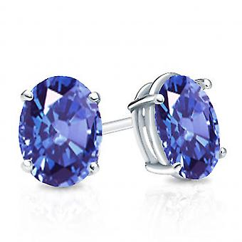 Dazzlingrock Collection 14K 6x4 mm each Oval Cut Tanzanite Ladies Solitaire Stud Earrings, White Gold