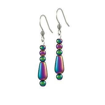 Eternal Collection Mystique Rainbow Hematite Drop Pierced Earrings