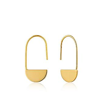 Ania Haie Sterling Silver Shiny Gold Plated Geometry Drop Earrings E005-07G