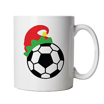 Football Elf Hat Mug | Christmas Xmas HoHoHo Season Greetings Merry | Lights Decorations Santa Claus Reindeer Rudolf | Christmas Cup Gift
