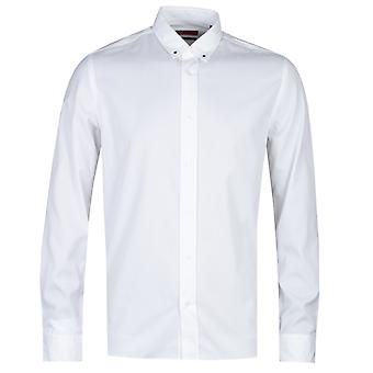 HUGO Emero Star Detail Straight Fit White long Sleeve Shirt