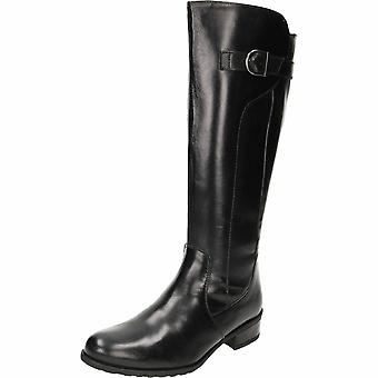 Comfort Plus Wide Fit Leather Flat Black Boots
