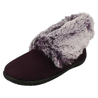 Ladies Padders Faux Fur Cuffed Slippers Esme
