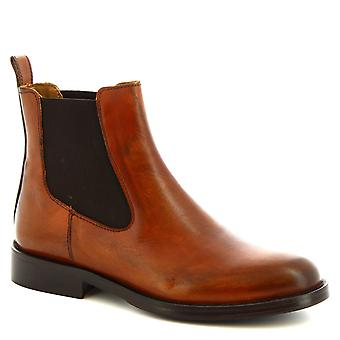 Leonardo Shoes Chaussures Femmes apos;s bottes de cheville rondes faites à la main en cuir de veau tan