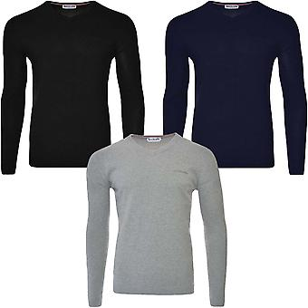 Lambretta Mens V Neck Casual Cotton Knit Knitted Sweater Pullover Jumper Top