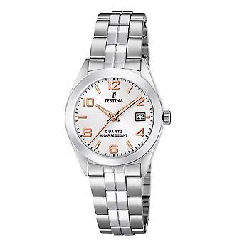 Se Festina F20438-4-klassisk stål sølv dial hvide kvinder