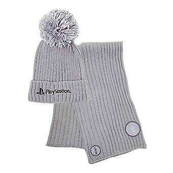 Playstation Beanie Scarf Gift Set Silver Classic Logo new Official Grey Unisex