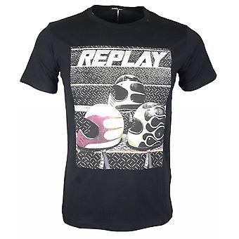 Replay Round Neck Printed Logo Black T-shirt