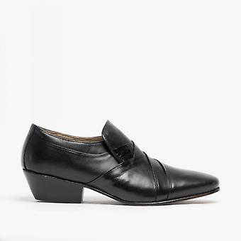 Montecatini Morales Mens Soft Leather Cuban Heel Dress Shoes Black