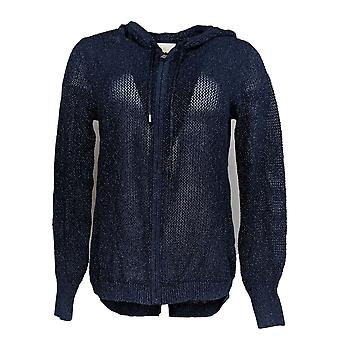 Belle by Kim Gravel Women's Sweater Zip-Up Lurex Hoodie Blue A288756