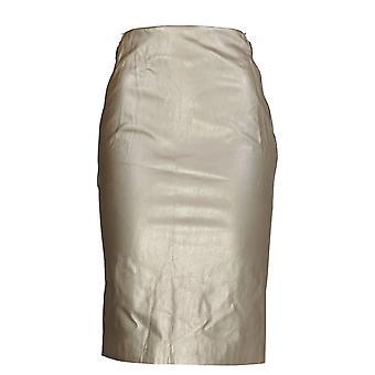 G.I.L.I. got it love it Skirt Faux Leather Pencil w/ Zipper Gold A273271