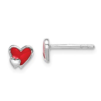 925 Sterling Silver Rhodium plated for boys or girls Enameled Red Love Heart Post Earrings