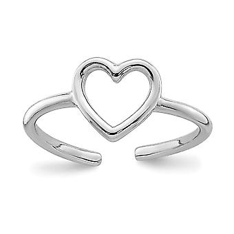 925 Sterling Silver Rhodium plated Polished Love Heart Toe Ring Jewelry Gifts for Women - .5 Grams
