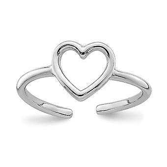 925 Sterling Sølv Rhodium belagt Polert Kjærlighet Hjerte Tå Ring Smykker Gaver til kvinner - 0,5 Gram