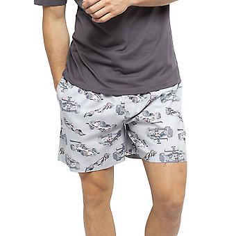 Cyberjammies 6445 Uomini's Jackson Grey Racing Car stampa Cotton Woven Pyjama Short