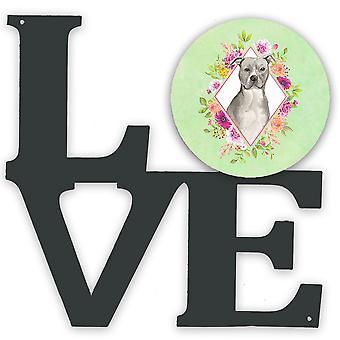 Blue Pit Bull Terrier Green Flowers Metal Wall Artwork LOVE