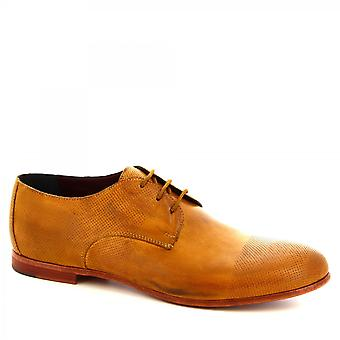 Leonardo Shoes Men-apos;s chaussures Oxford à lacets faites à la main en cuir de veau ocre