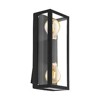Eglo Alamonte 1 - 2 Light Outdoor Flush Wall Light Black - EG98273