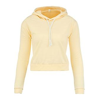 Moxeay Women's Uzun Kollu Hoodie Crop Top Workout, Sarı, Boyut No Size