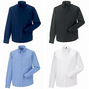 Russell collectie heren lange mouw klassieke Twill overhemd