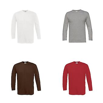 B & Mens C Exact Plain Long Sleeve Crew Neck T-Shirt