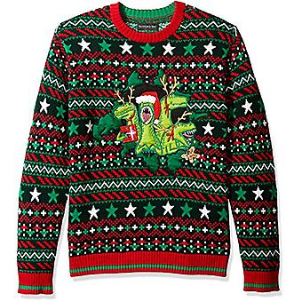 Blizzard Bay Men's Ugly Christmas Sweater Dinosaur, Green/Red, Small