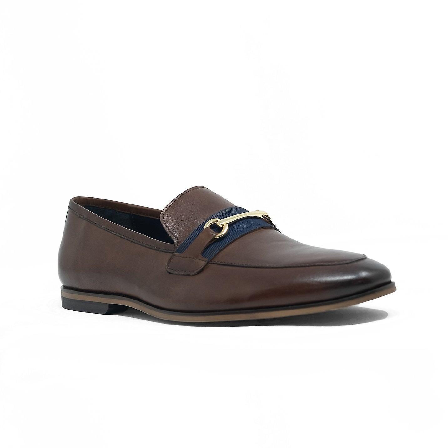 Walk london raphael bar loafers in brown leather