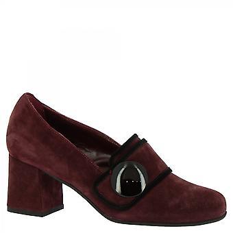 Leonardo Shoes Women-apos;s talons faits à la main orteil carré escarpins chaussures en daim bordeaux