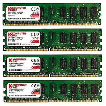 Komputerbay KB_8GBAM2_4x2GB800_251 - 8 GB (2 x 2 GB) to 240 pin AM2 PC2 6400/PC2 6300 800 MHz memory module