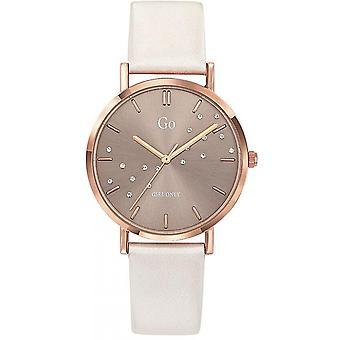 Reloj Go Chica Sólo 699302 - Caja de acero Dor rosa pulsera de cuero blanco cuero mujeres